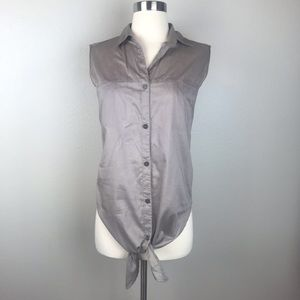 Helmut Lang Taupe Sleeveless Shirt With Tie Front